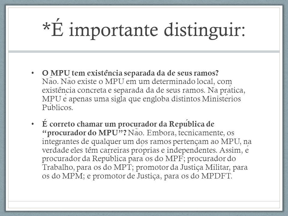 *É importante distinguir: O MPU tem existe ̂ ncia separada da de seus ramos.