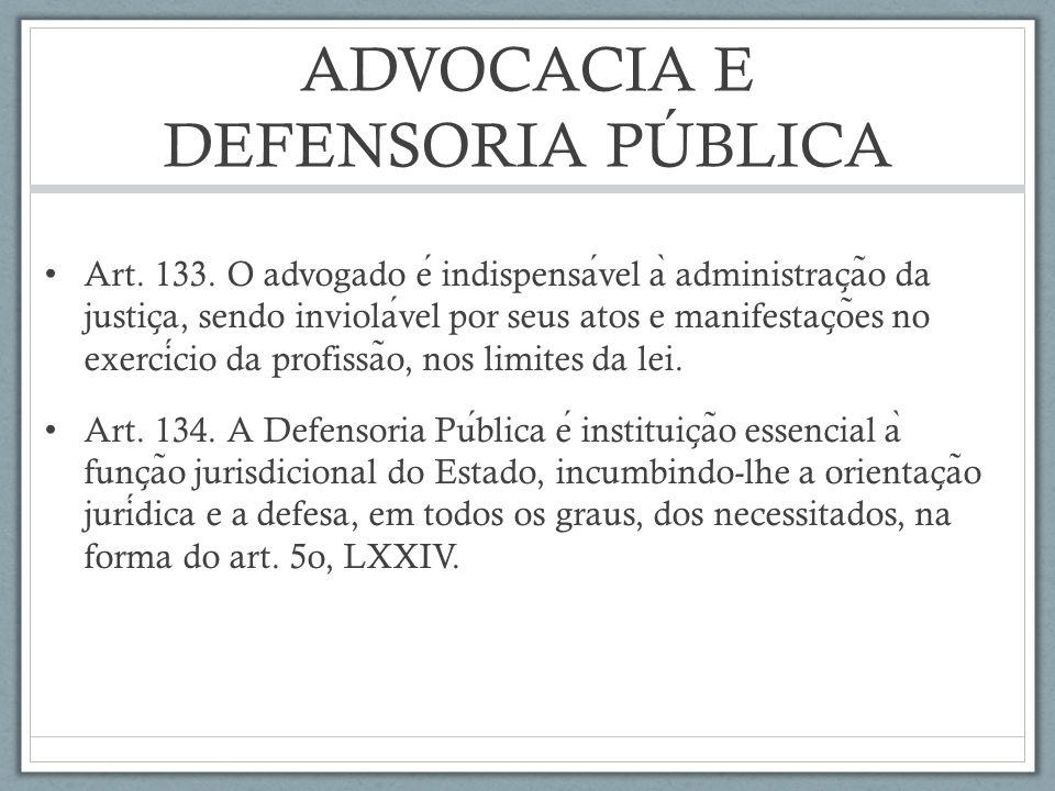 ADVOCACIA E DEFENSORIA PÚBLICA Art.133.