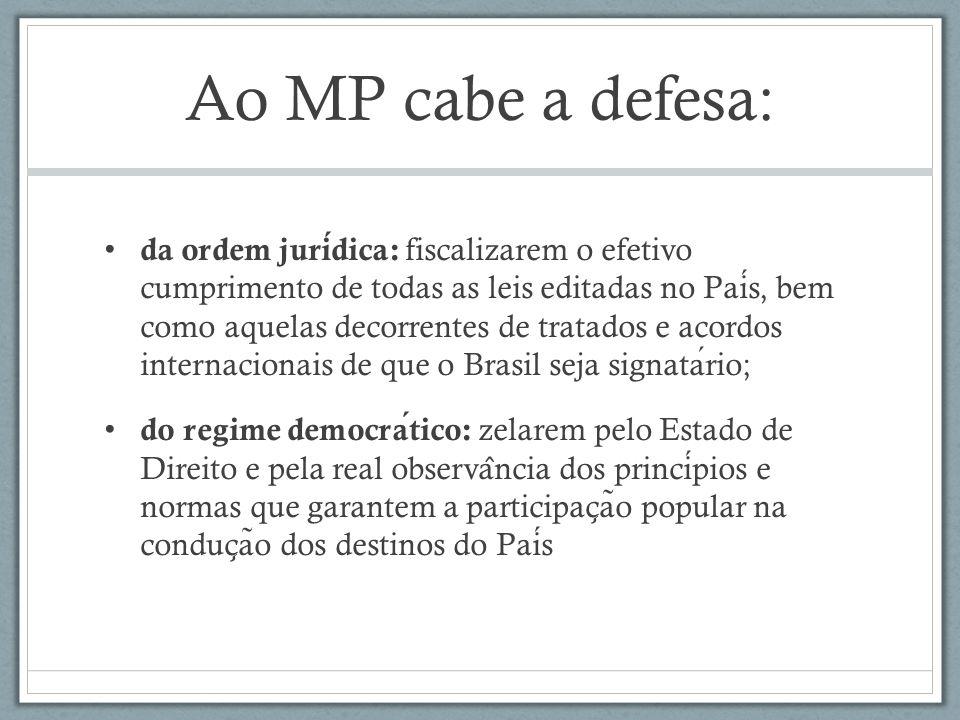Ao MP cabe a defesa: da ordem juridica: fiscalizarem o efetivo cumprimento de todas as leis editadas no Pais, bem como aquelas decorrentes de tratados