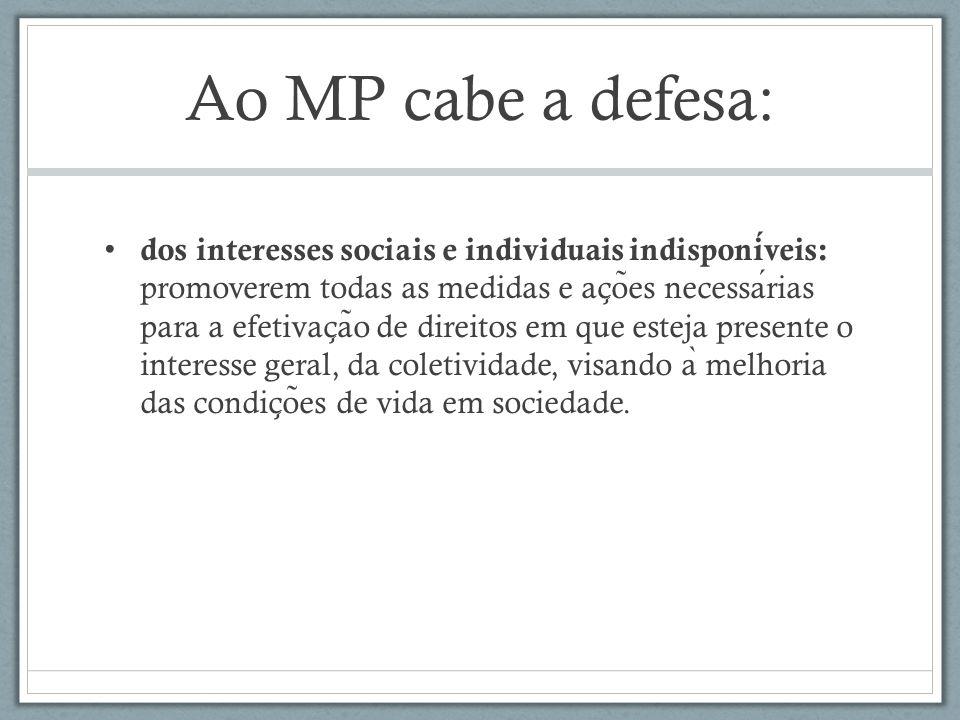 Ao MP cabe a defesa: dos interesses sociais e individuais indisponiveis: promoverem todas as medidas e ac ̧ o ̃ es necessarias para a efetivac ̧ a ̃ o