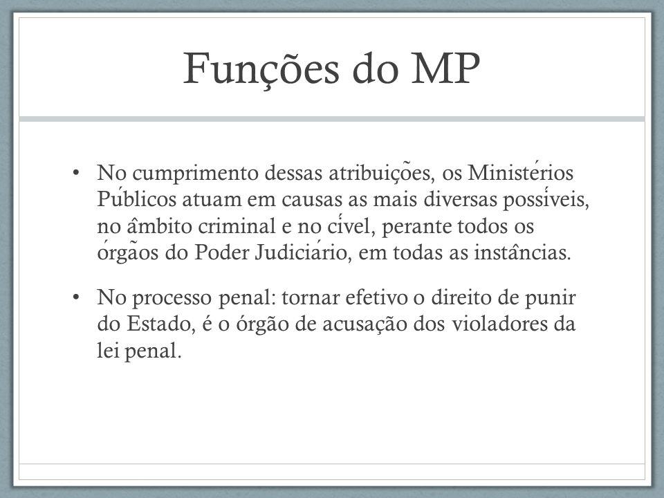 Funções do MP No cumprimento dessas atribuic ̧ o ̃ es, os Ministerios Publicos atuam em causas as mais diversas possiveis, no a ̂ mbito criminal e no