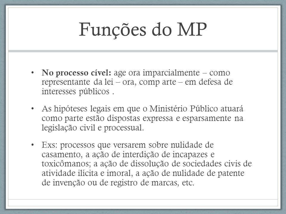 Funções do MP No processo cível: age ora imparcialmente – como representante da lei – ora, comp arte – em defesa de interesses públicos.