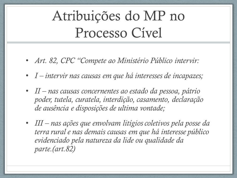 Atribuições do MP no Processo Cível Art. 82, CPC Compete ao Ministério Público intervir: I – intervir nas causas em que há interesses de incapazes; II