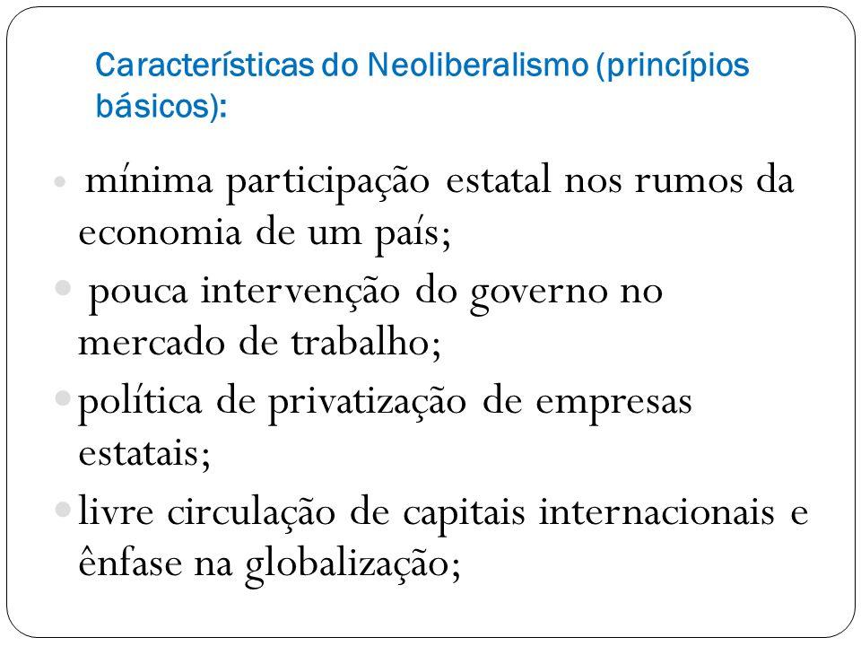 Características do Neoliberalismo (princípios básicos): mínima participação estatal nos rumos da economia de um país; pouca intervenção do governo no mercado de trabalho; política de privatização de empresas estatais; livre circulação de capitais internacionais e ênfase na globalização;