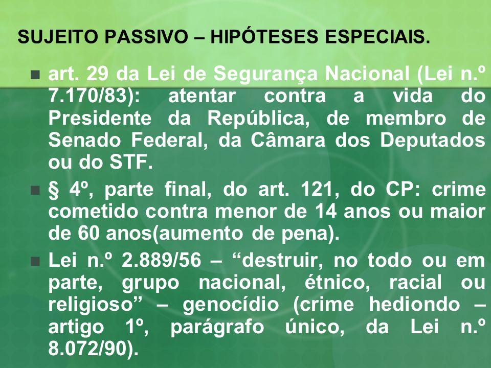 SUJEITO PASSIVO – HIPÓTESES ESPECIAIS. art. 29 da Lei de Segurança Nacional (Lei n.º 7.170/83): atentar contra a vida do Presidente da República, de m