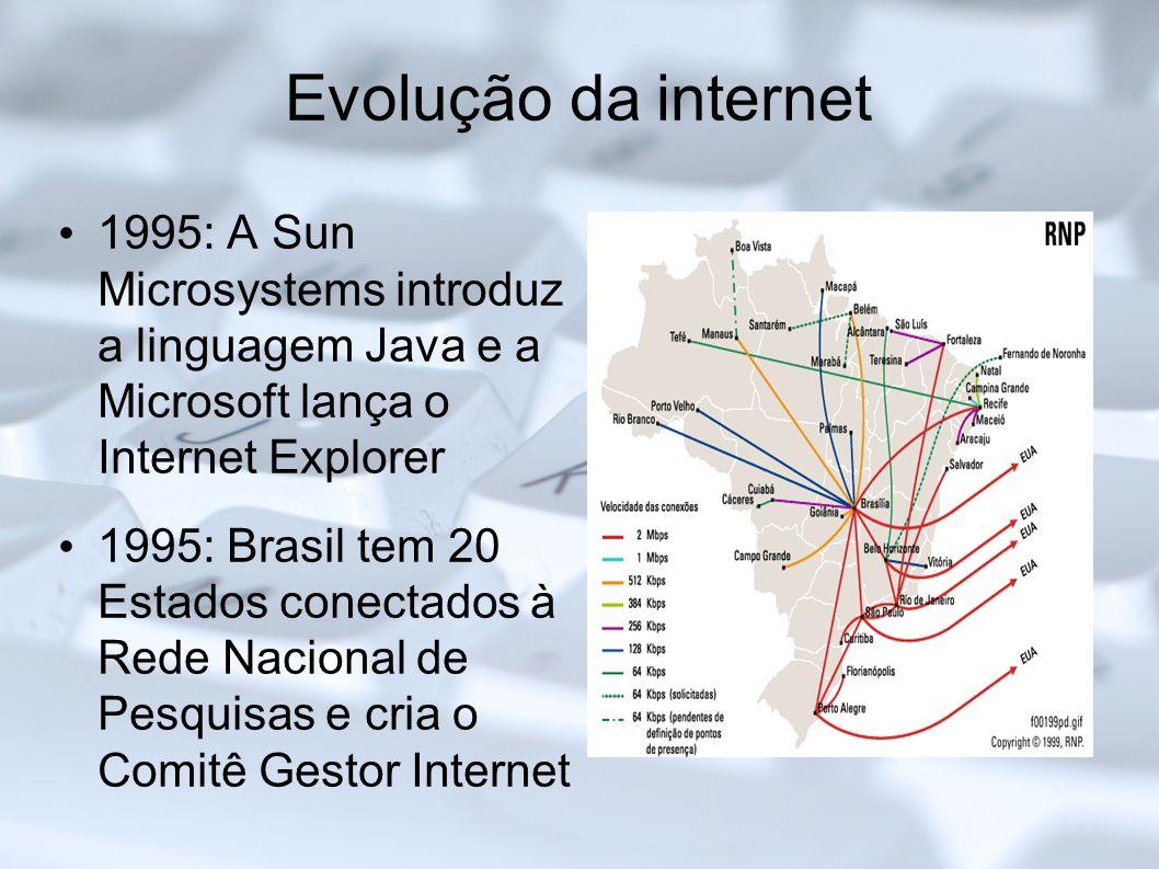 Evolução da internet 1995: A Sun Microsystems introduz a linguagem Java e a Microsoft lança o Internet Explorer 1995: Brasil tem 20 Estados conectados
