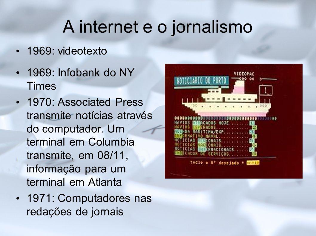 A internet e o jornalismo 1969: videotexto 1969: Infobank do NY Times 1970: Associated Press transmite notícias através do computador. Um terminal em