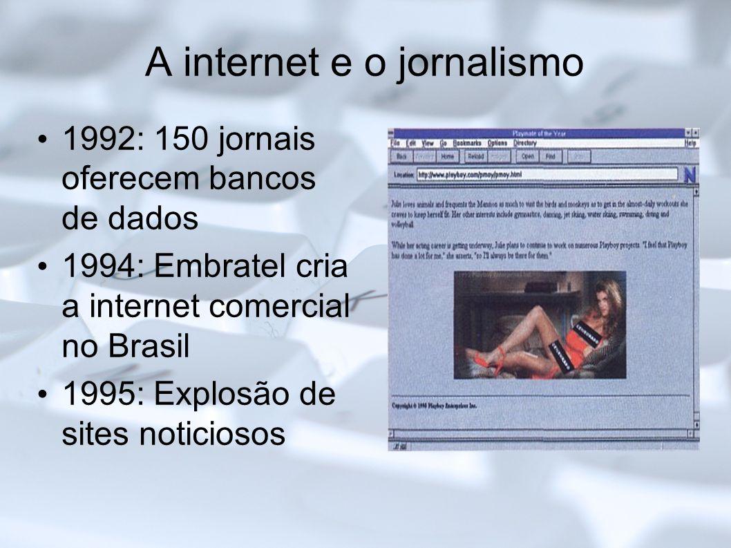 A internet e o jornalismo 1992: 150 jornais oferecem bancos de dados 1994: Embratel cria a internet comercial no Brasil 1995: Explosão de sites notici