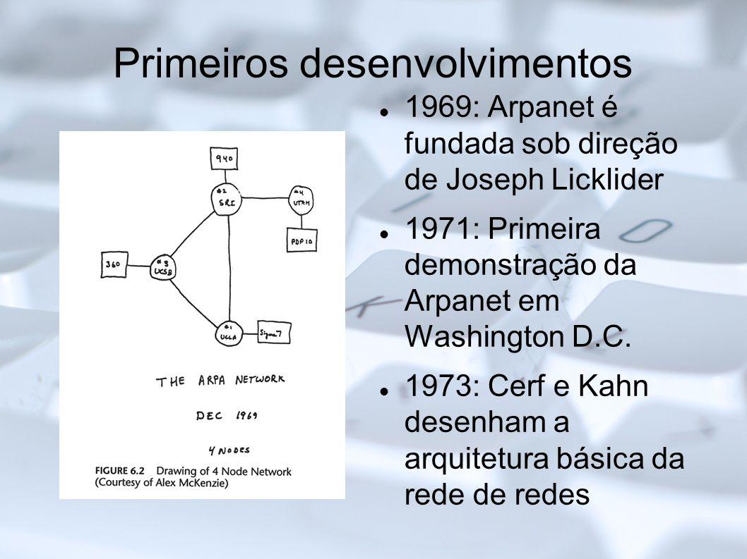 Primeiros desenvolvimentos 1969: Arpanet é fundada sob direção de Joseph Licklider 1971: Primeira demonstração da Arpanet em Washington D.C. 1973: Cer