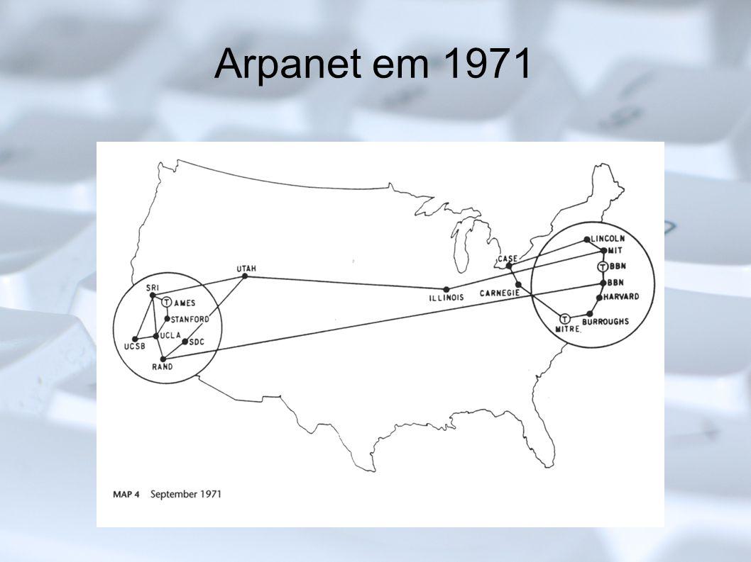 A evolução da internet 1973: Criação da primeira Ethernet 1975: Primeiro computador pessoal, o Altair (Microsoft) 1976: Segundo computador pessoal, Apple I (Apple) 1978: Fusão do TCP com o IP (internet protocol) 1983: Separação da rede militar (Milnet) e criação da Arpanet/Internet