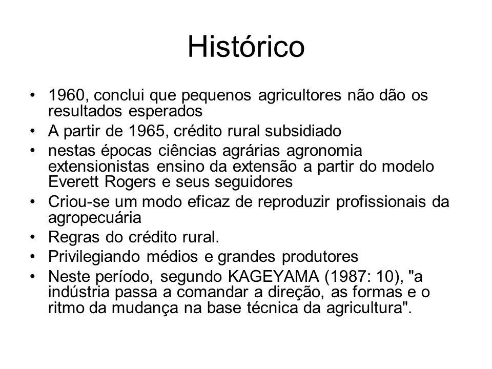 Histórico Década de 70, diminuição do crédito rural O modelo EMBRATER ao compreender o processo de exclusão da maioria, agrega para os agricultores de baixa renda um trabalho complementar de cunho social e assistencialista agricultura subordinada à agroindústria, bem como com os reflexos sócio-econômicos e ambientais anos 80, estagnação, um novo discurso De lá para cá: salvar o atraso, agravamento dos danos ambientais, diferenciação social Anos 90 - redescoberta de caminhos alternativos