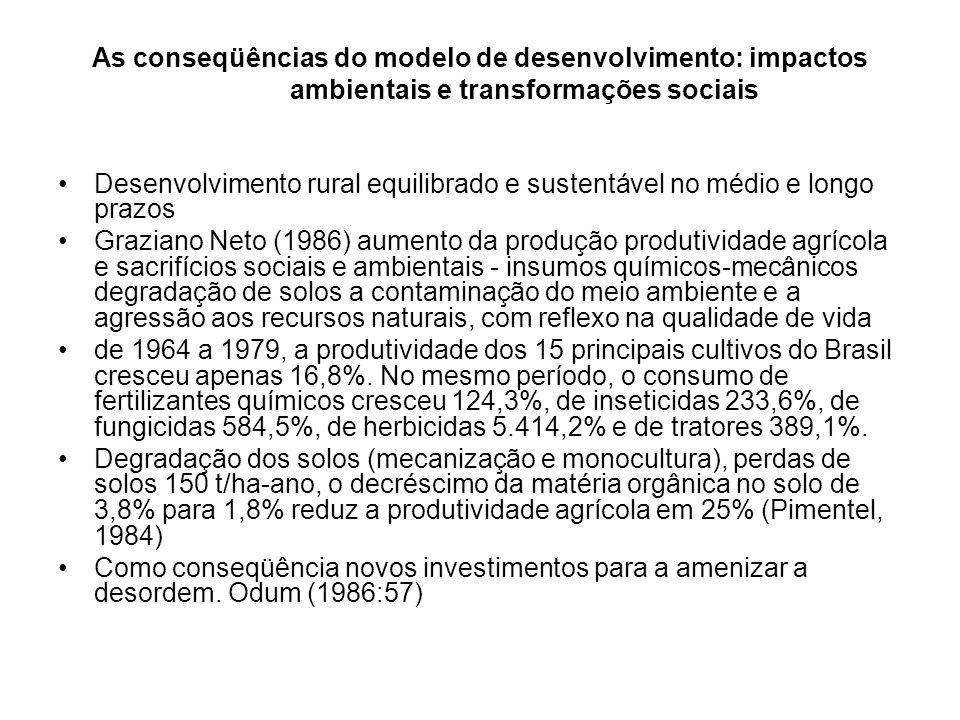 As conseqüências do modelo de desenvolvimento: impactos ambientais e transformações sociais A sustentabilidade ecológica e energética dos agroecossistemas.
