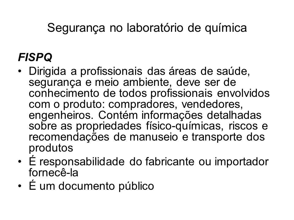 Segurança no laboratório de química Telefones que devem ser acessíveis ao responsável pelo laboratório: Ambulância: _______________ Bombeiros: ________________ Posto médico mais próximo: _____________ Hospital mais próximo: _____________ Médico mais próximo: _________________