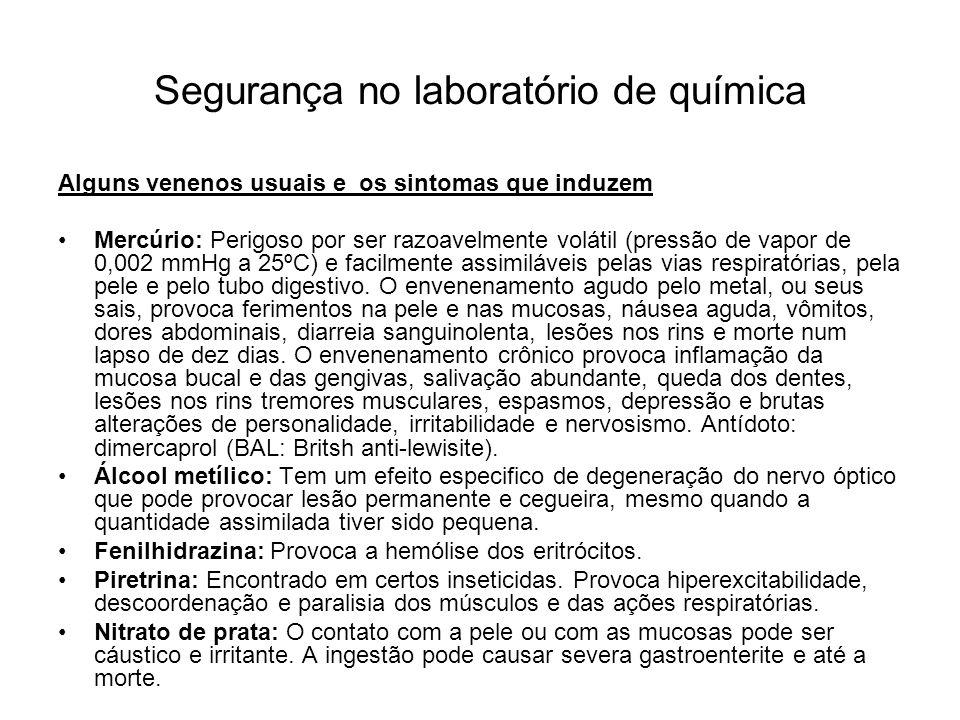 Segurança no laboratório de química NÃO PROVOQUE VÔMITO...