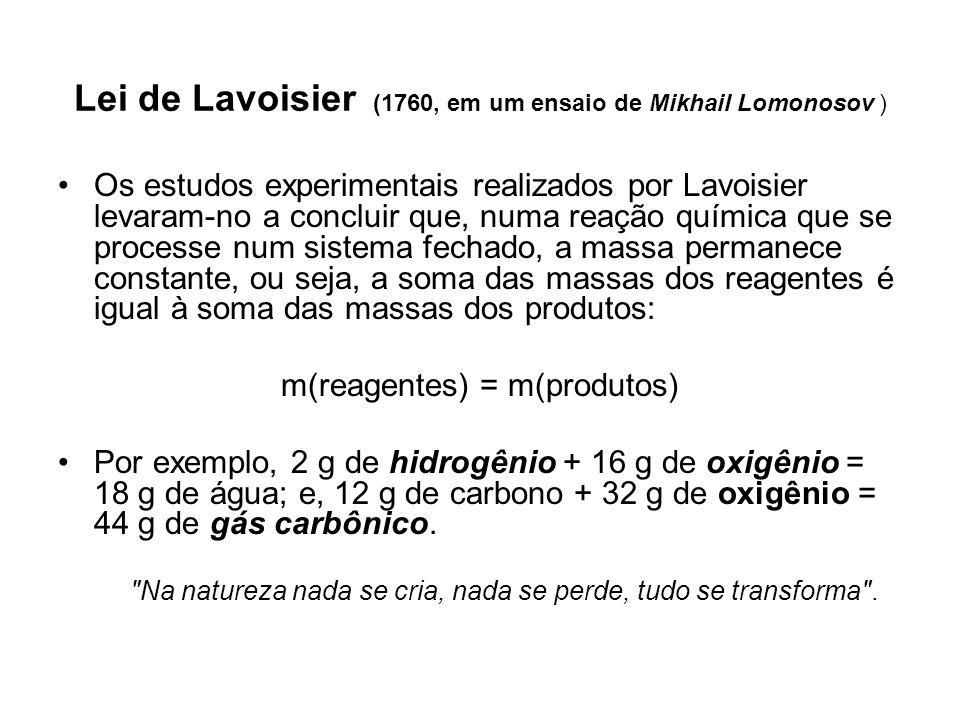A Lei de Proust ou a Lei das proporções constantes (1797 pelo químico Joseph Louis Proust) as massas dos reagentes e as massas dos produtos que participam da reação obedecem sempre a uma proporção constante.