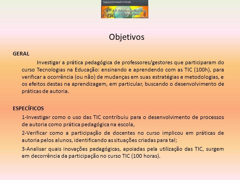 O que foi verificado: O uso das TIC pouco contribuiu para o desenvolvimento de processos de autoria na prática pedagógica da escola (principalmente de alunos ); O uso dos recursos digitais necessários para a autoria foi apropriado por professores, entretanto, não verificamos o mesmo com os alunos; A escola como um todo participa da rede com diversas inscrições (realizadas por professores) direcionadas a comunidade; As TIC servem, basicamente, para estabelecer a rede-escola (professores e demais funcionários); A rede-escola produz e troca inscrições de forma que não seria possível sem a presença das TIC em seu cotidiano; Embora alguns professores tenham se apropriado das TIC em sua prática educacional e as utilizem com certa frequência junto aos seus alunos, os resultados verificados na pesquisa nos levam a crer que esses professores ainda não são capazes de propor inovações pedagógicas.