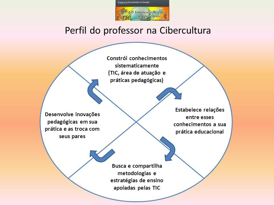 Perfil do professor na Cibercultura Constrói conhecimentos sistematicamente (TIC, área de atuação e práticas pedagógicas) Desenvolve inovações pedagóg