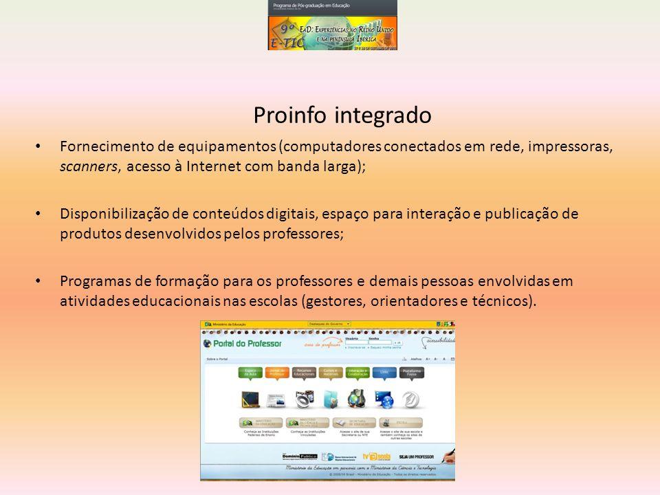 Fornecimento de equipamentos (computadores conectados em rede, impressoras, scanners, acesso à Internet com banda larga); Disponibilização de conteúdo