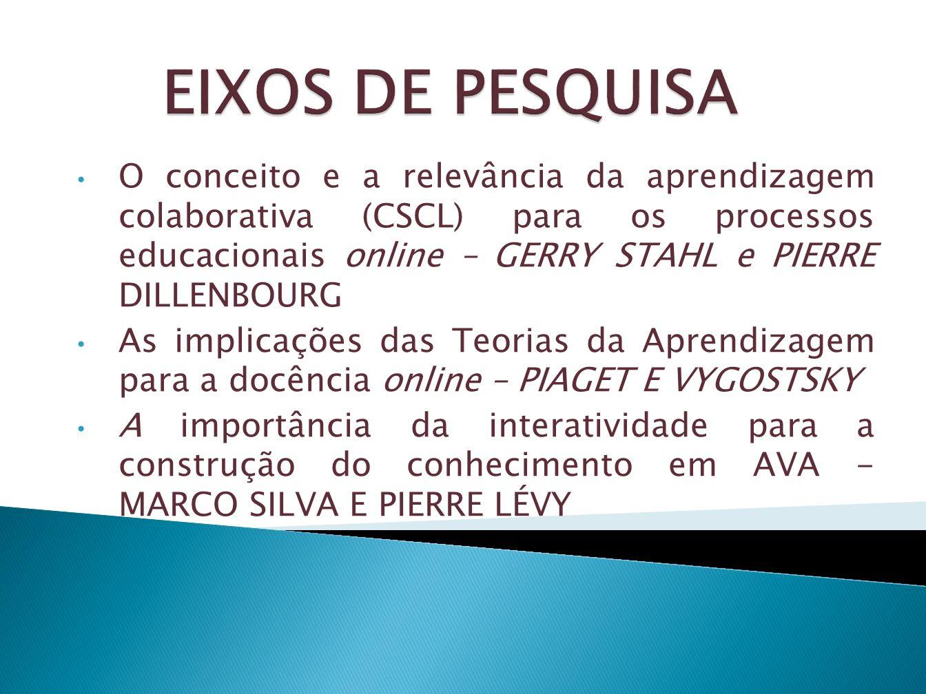 O conceito e a relevância da aprendizagem colaborativa (CSCL) para os processos educacionais online – GERRY STAHL e PIERRE DILLENBOURG As implicações