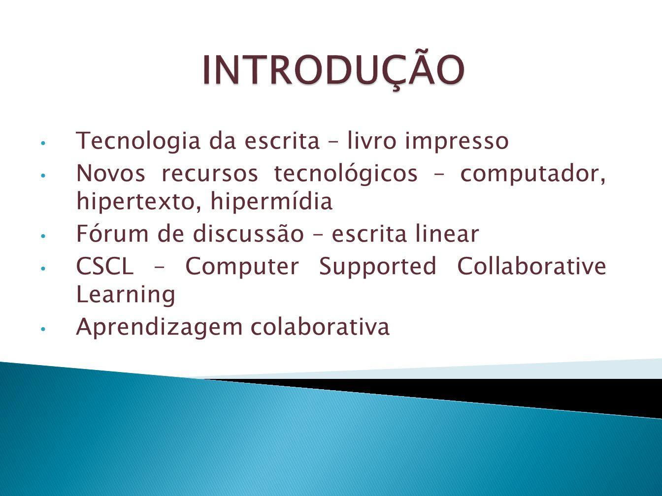 Tecnologia da escrita – livro impresso Novos recursos tecnológicos – computador, hipertexto, hipermídia Fórum de discussão – escrita linear CSCL – Com