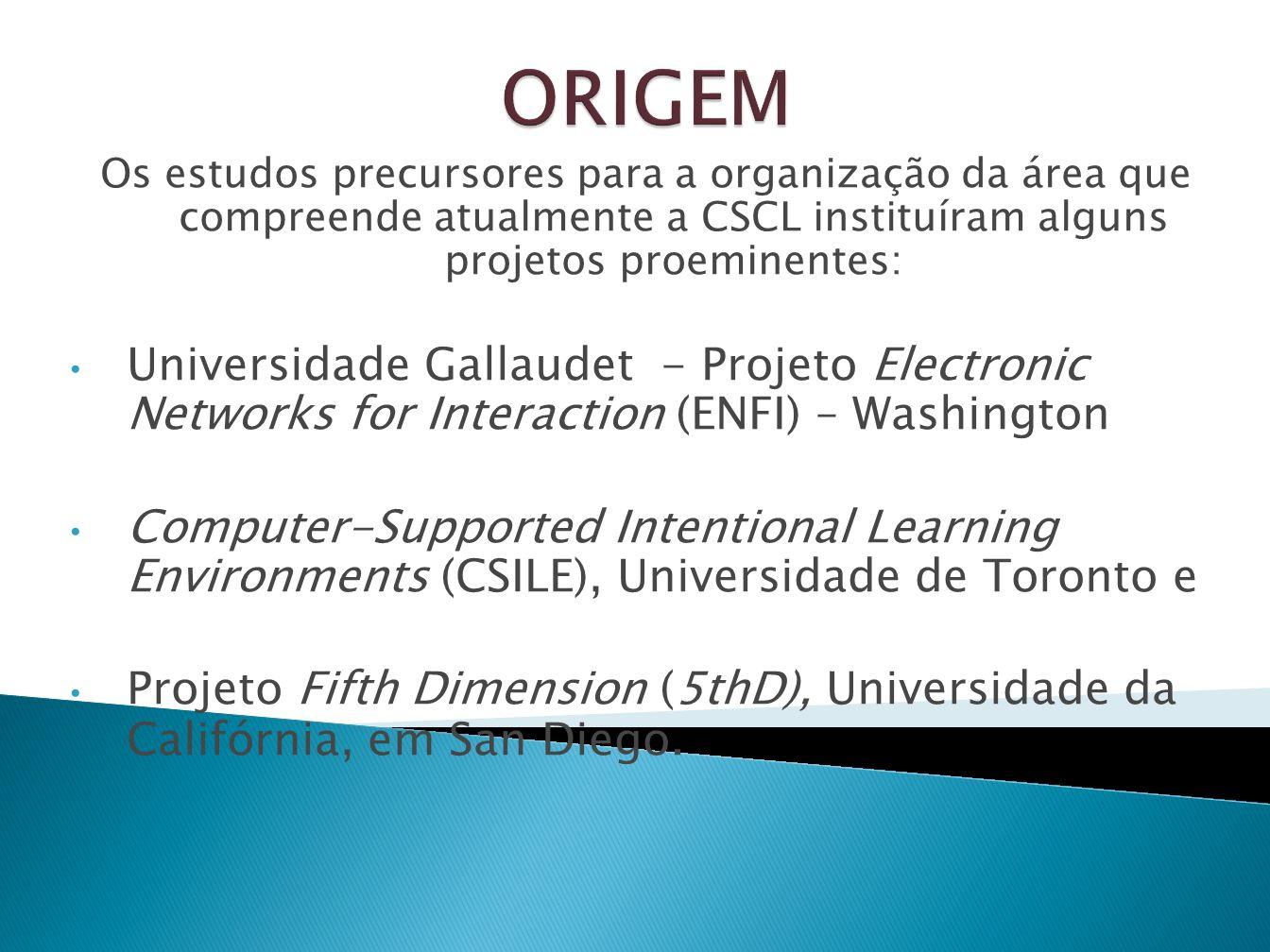 Os estudos precursores para a organização da área que compreende atualmente a CSCL instituíram alguns projetos proeminentes: Universidade Gallaudet -