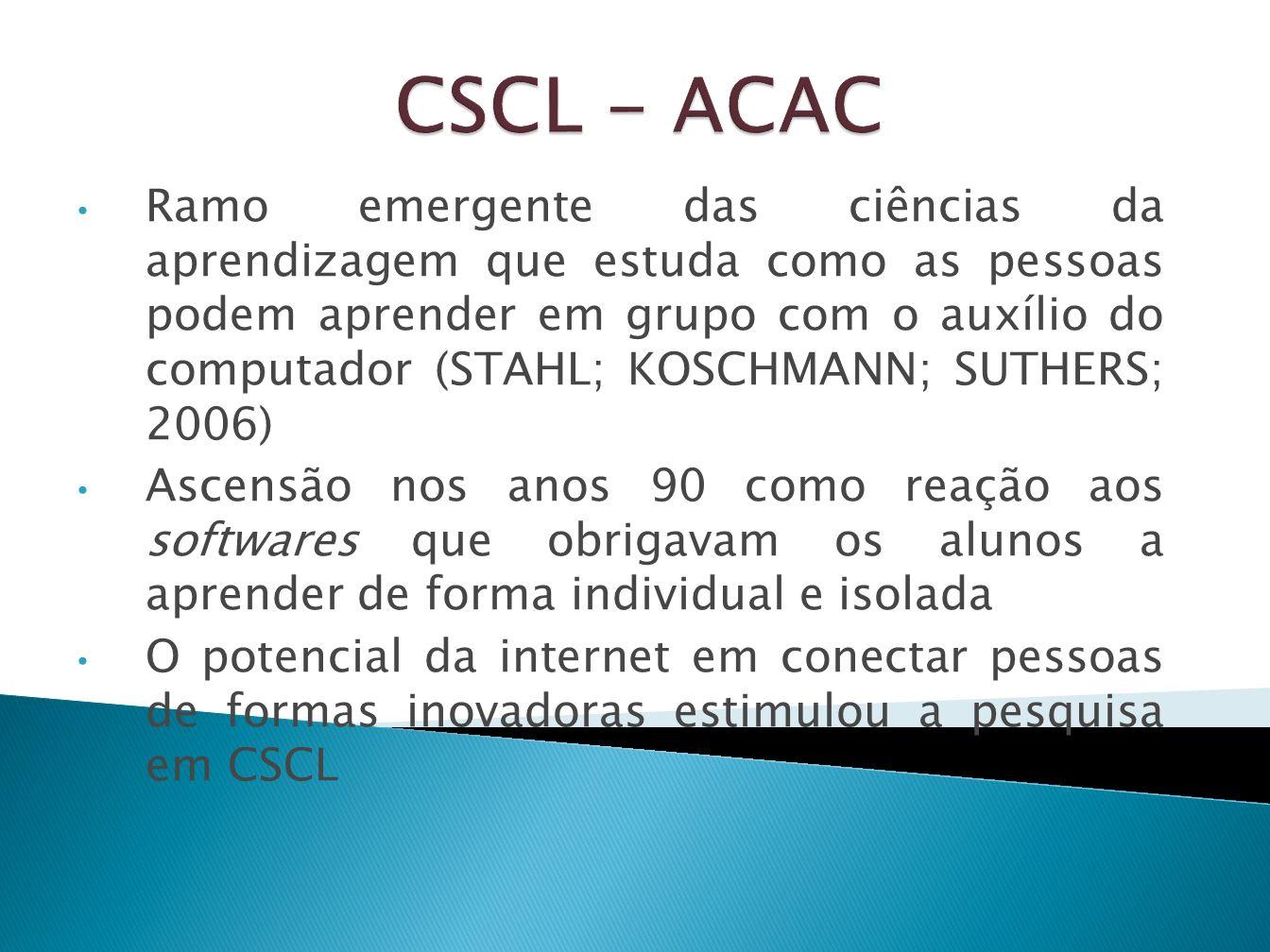 Durante o desenvolvimento da CSCL os problemas de design, disseminação e o aproveitamento efetivo das vantagens oferecidas pelos softwares educacionais inovadores tornaram-se cada vez mais aparente.