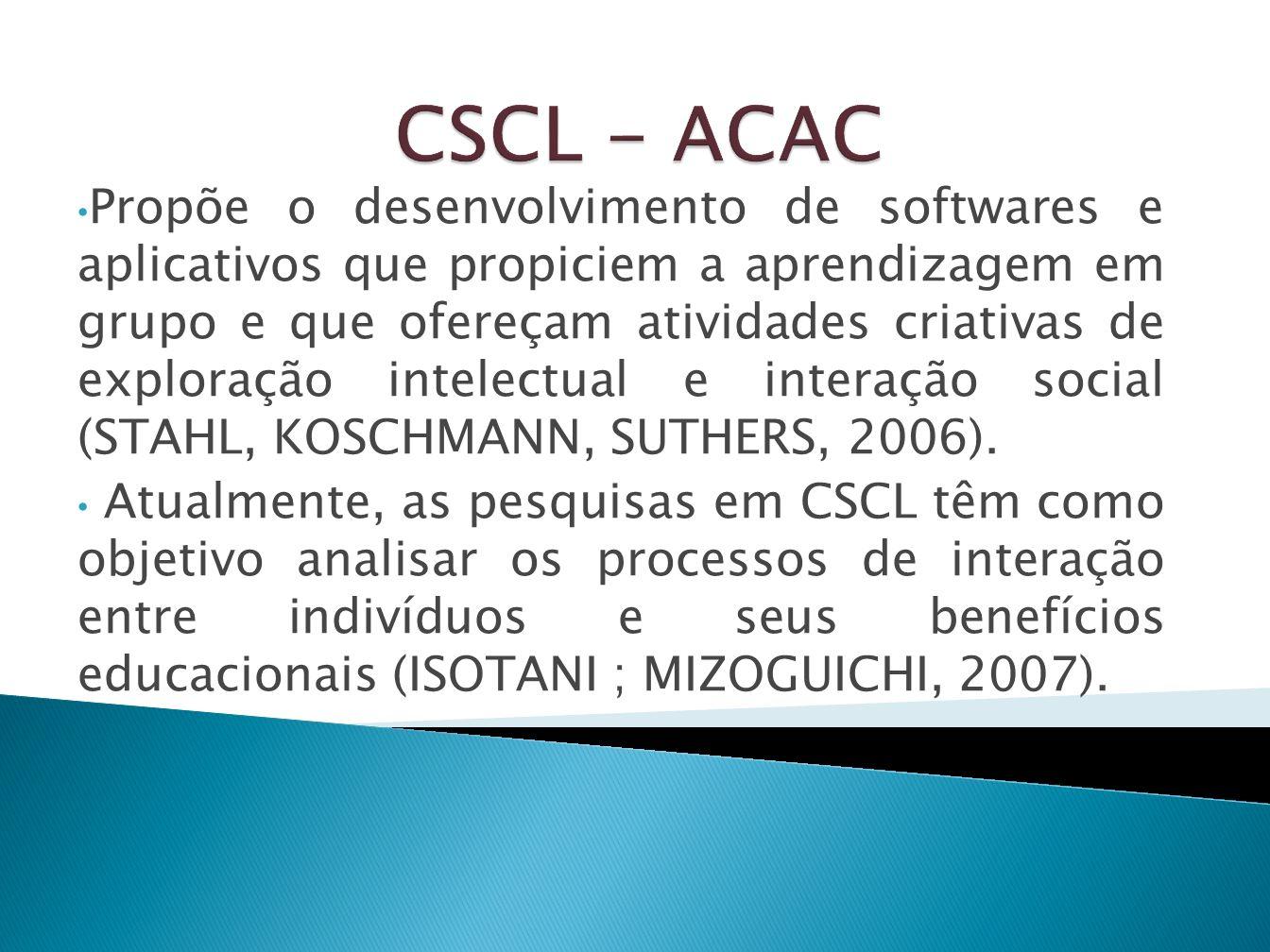 Propõe o desenvolvimento de softwares e aplicativos que propiciem a aprendizagem em grupo e que ofereçam atividades criativas de exploração intelectua