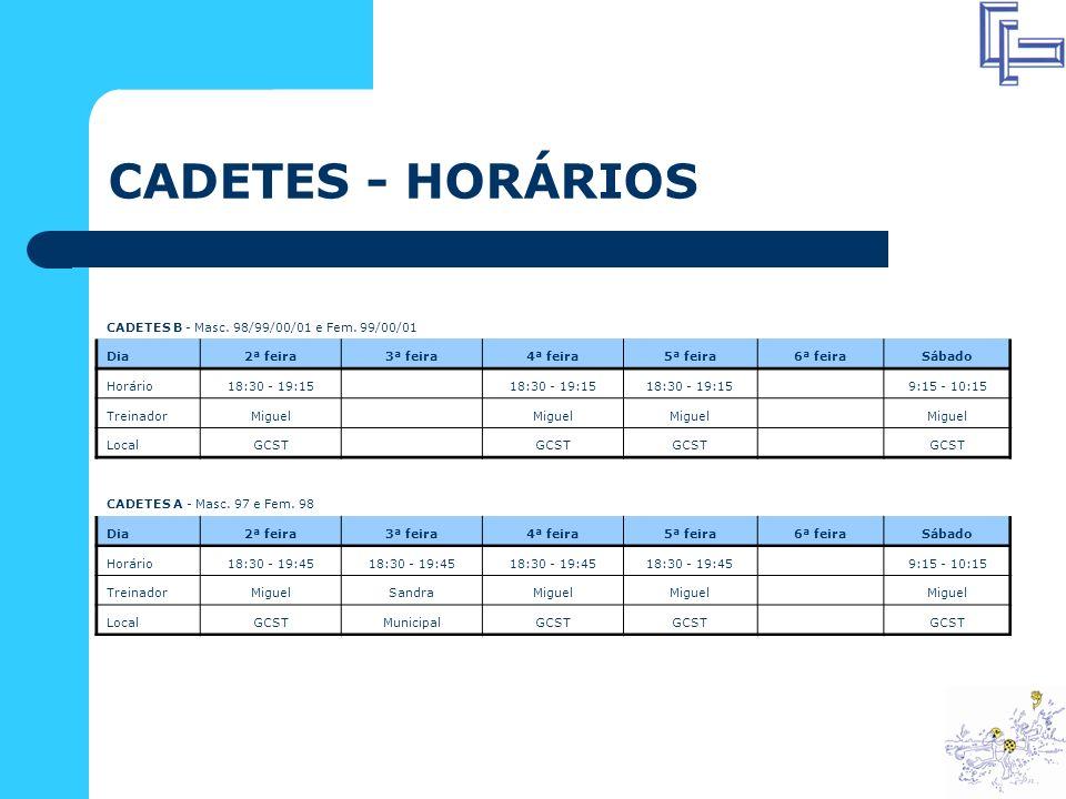 CADETES - HORÁRIOS CADETES B - Masc.98/99/00/01 e Fem.