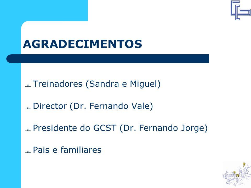 AGRADECIMENTOS Treinadores (Sandra e Miguel) Director (Dr.