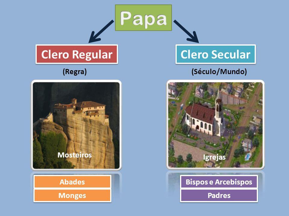 Clero Regular Clero Secular (Regra)(Século/Mundo) Mosteiros Igrejas Abades Monges Bispos e Arcebispos Padres