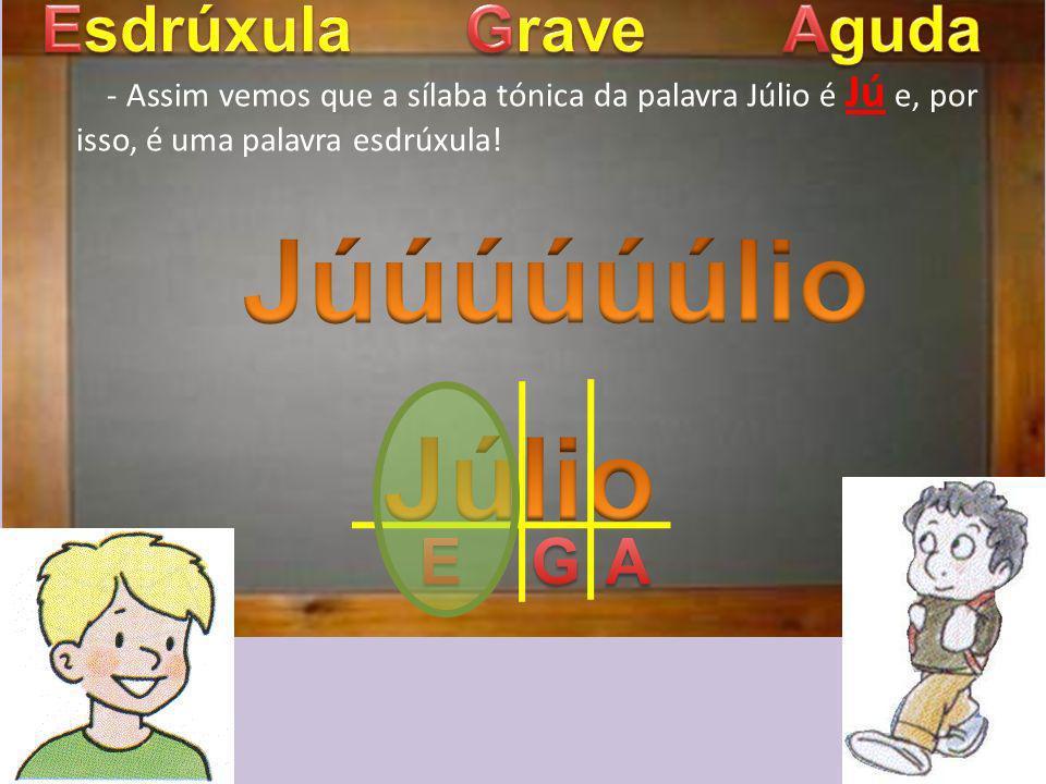 - Assim vemos que a sílaba tónica da palavra Júlio é Jú e, por isso, é uma palavra esdrúxula!