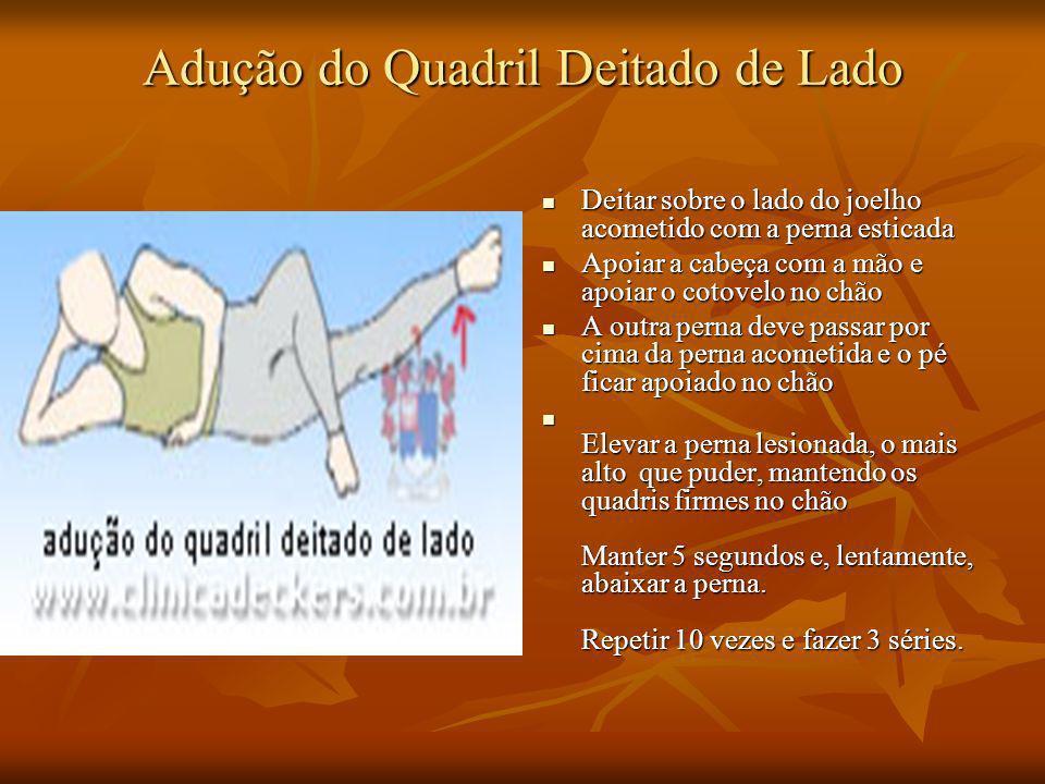Adução do Quadril Deitado de Lado Deitar sobre o lado do joelho acometido com a perna esticada Deitar sobre o lado do joelho acometido com a perna est