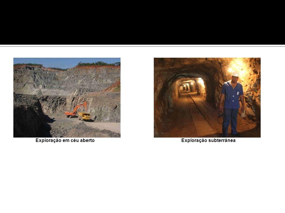 Exploração em céu aberto Exploração subterrânea