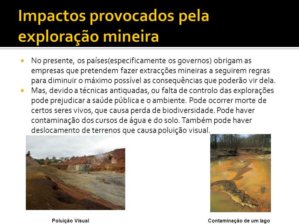 No presente, os países(especificamente os governos) obrigam as empresas que pretendem fazer extracções mineiras a seguirem regras para diminuir o máxi