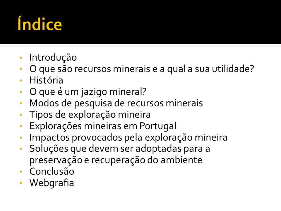 Introdução O que são recursos minerais e a qual a sua utilidade? História O que é um jazigo mineral? Modos de pesquisa de recursos minerais Tipos de e