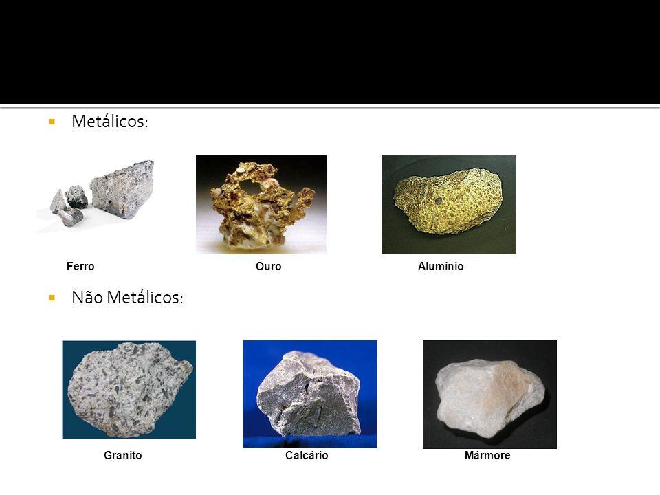 Metálicos: Ferro Ouro Alumínio Não Metálicos: Granito Calcário Mármore