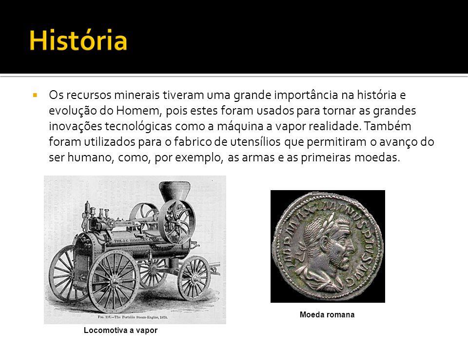 Os recursos minerais tiveram uma grande importância na história e evolução do Homem, pois estes foram usados para tornar as grandes inovações tecnológ
