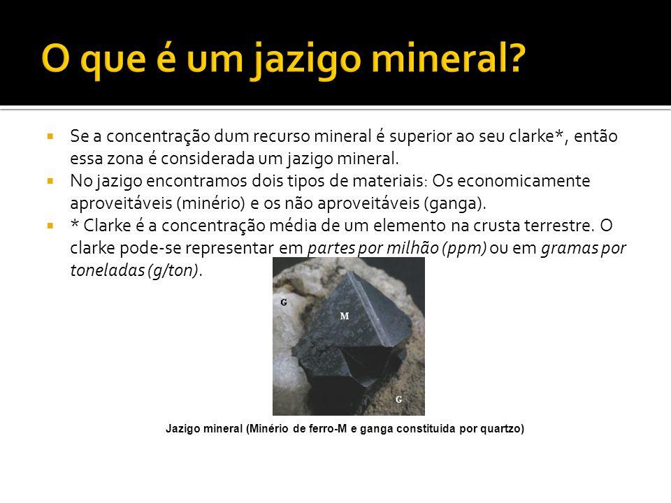 Se a concentração dum recurso mineral é superior ao seu clarke*, então essa zona é considerada um jazigo mineral. No jazigo encontramos dois tipos de