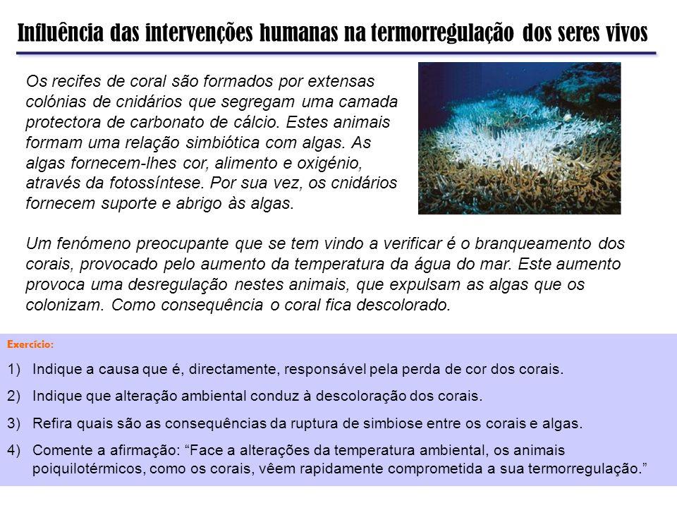 Influência das intervenções humanas na termorregulação dos seres vivos Os recifes de coral são formados por extensas colónias de cnidários que segrega
