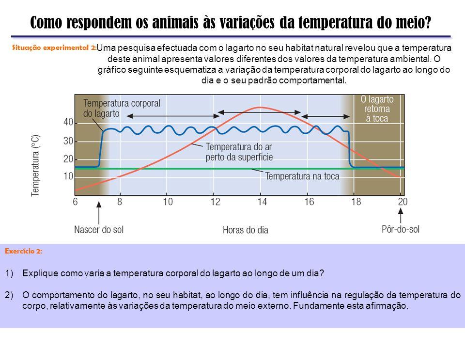 Como respondem os animais às variações da temperatura do meio? Exercício 2: 1)Explique como varia a temperatura corporal do lagarto ao longo de um dia