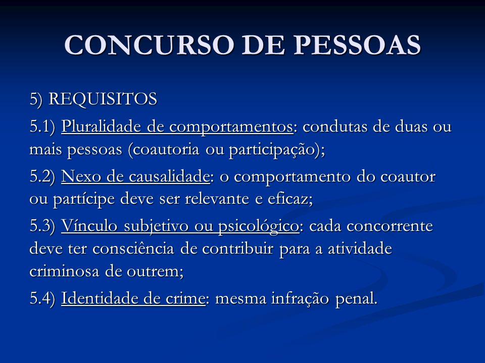 CONCURSO DE PESSOAS 5) REQUISITOS 5.1) Pluralidade de comportamentos: condutas de duas ou mais pessoas (coautoria ou participação); 5.2) Nexo de causa