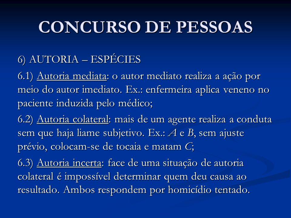 CONCURSO DE PESSOAS 6) AUTORIA – ESPÉCIES 6.1) Autoria mediata: o autor mediato realiza a ação por meio do autor imediato. Ex.: enfermeira aplica vene