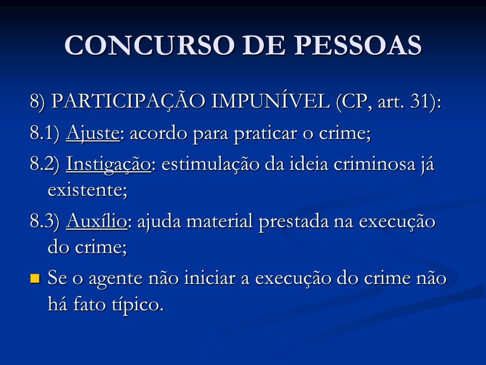 CONCURSO DE PESSOAS 8) PARTICIPAÇÃO IMPUNÍVEL (CP, art. 31): 8.1) Ajuste: acordo para praticar o crime; 8.2) Instigação: estimulação da ideia criminos
