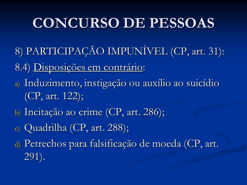 CONCURSO DE PESSOAS 8) PARTICIPAÇÃO IMPUNÍVEL (CP, art. 31): 8.4) Disposições em contrário: a) Induzimento, instigação ou auxílio ao suicídio (CP, art