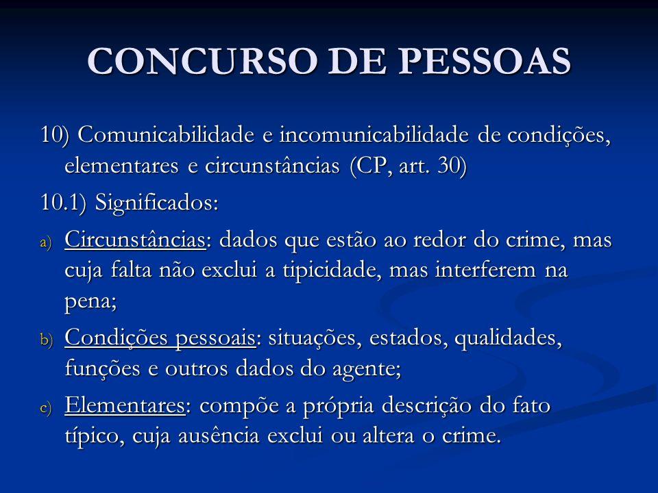 CONCURSO DE PESSOAS 10) Comunicabilidade e incomunicabilidade de condições, elementares e circunstâncias (CP, art. 30) 10.1) Significados: a) Circunst
