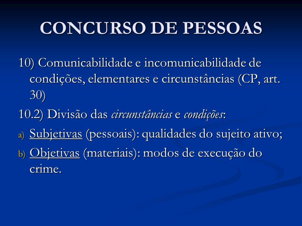 CONCURSO DE PESSOAS 10) Comunicabilidade e incomunicabilidade de condições, elementares e circunstâncias (CP, art. 30) 10.2) Divisão das circunstância