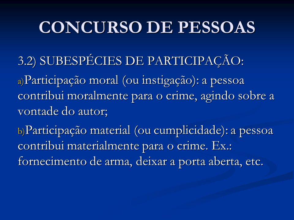CONCURSO DE PESSOAS 3.2) SUBESPÉCIES DE PARTICIPAÇÃO: a) Participação moral (ou instigação): a pessoa contribui moralmente para o crime, agindo sobre