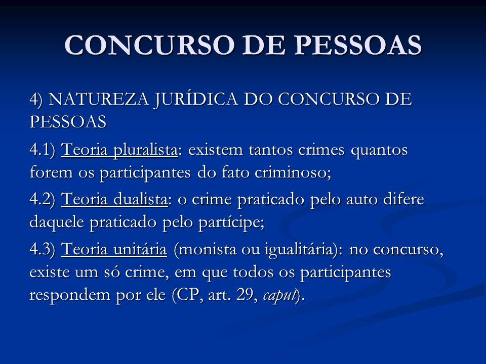 CONCURSO DE PESSOAS 4) NATUREZA JURÍDICA DO CONCURSO DE PESSOAS 4.1) Teoria pluralista: existem tantos crimes quantos forem os participantes do fato c