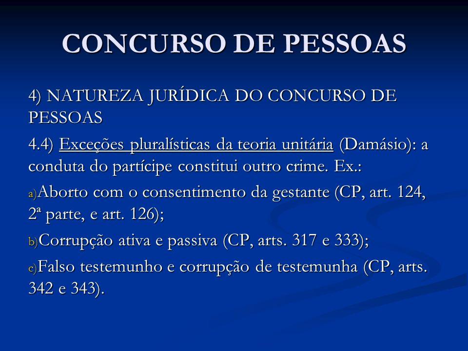 CONCURSO DE PESSOAS 4) NATUREZA JURÍDICA DO CONCURSO DE PESSOAS 4.4) Exceções pluralísticas da teoria unitária (Damásio): a conduta do partícipe const