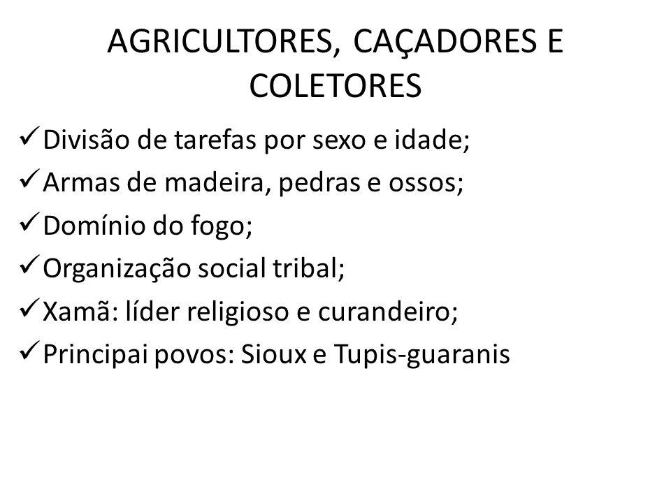 AGRICULTORES, CAÇADORES E COLETORES Divisão de tarefas por sexo e idade; Armas de madeira, pedras e ossos; Domínio do fogo; Organização social tribal;